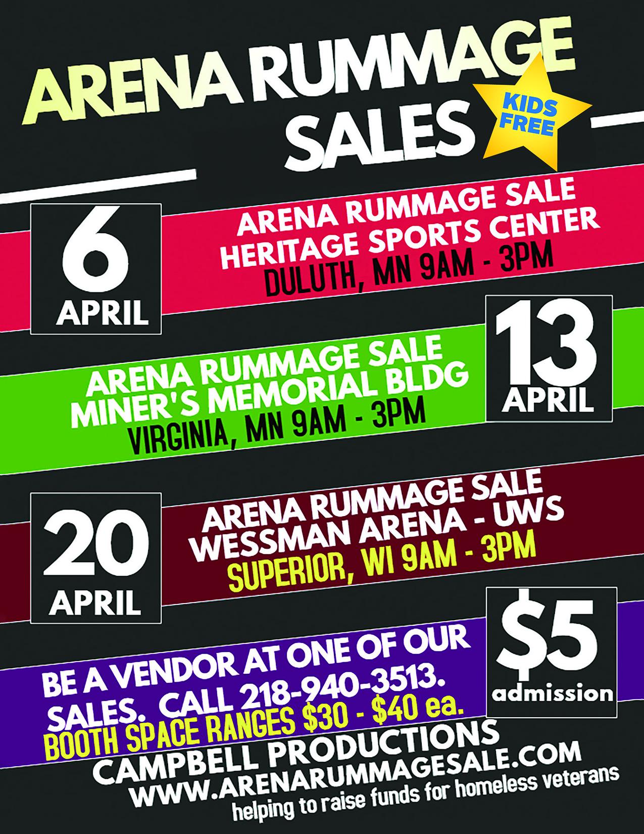 2019 Arena Rummage Sales – The Largest Indoor Rummage Sales